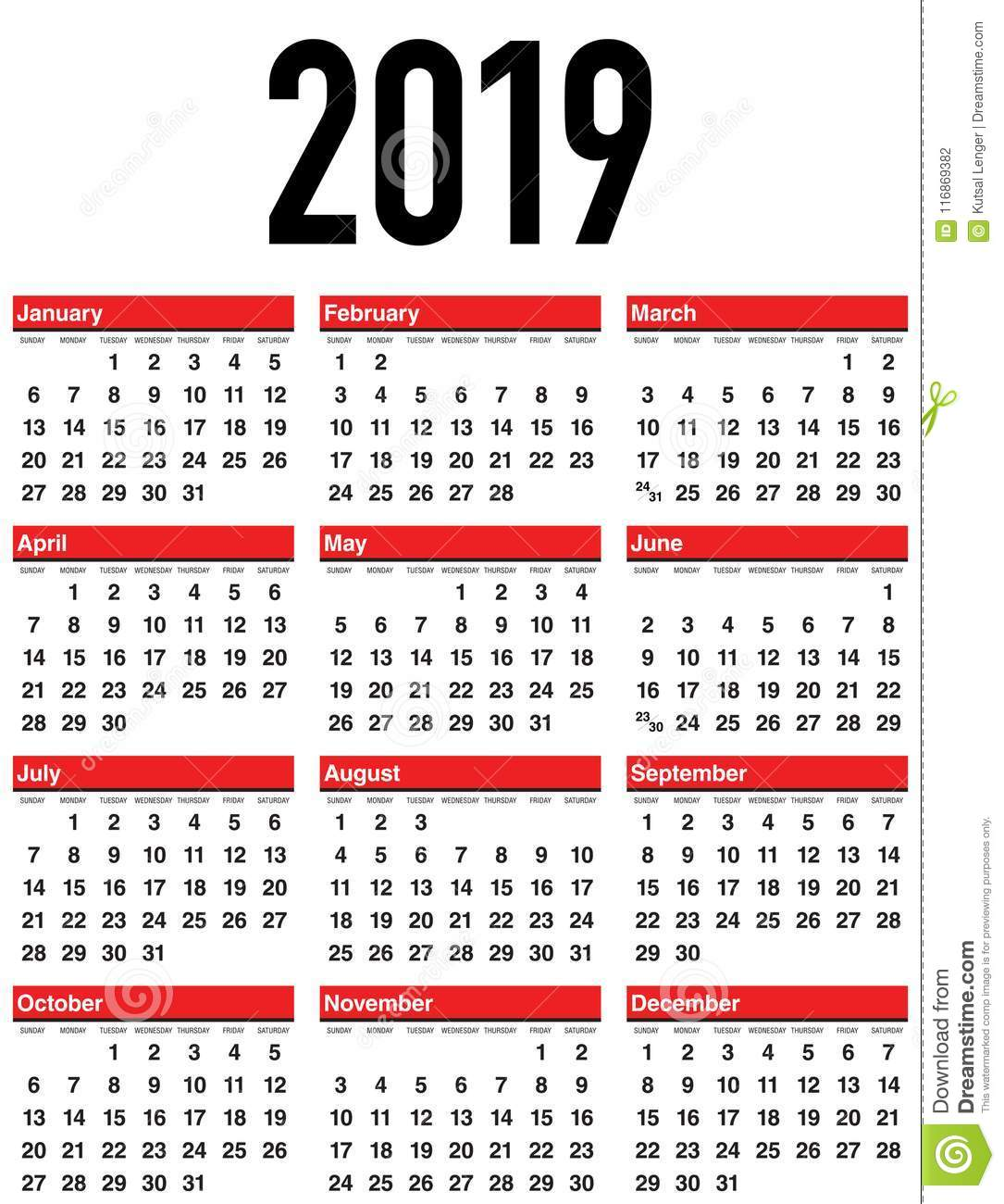Calendario 2019 Por Semanas.Calendario 2019 Del Vector La Semana Empieza De Domingo