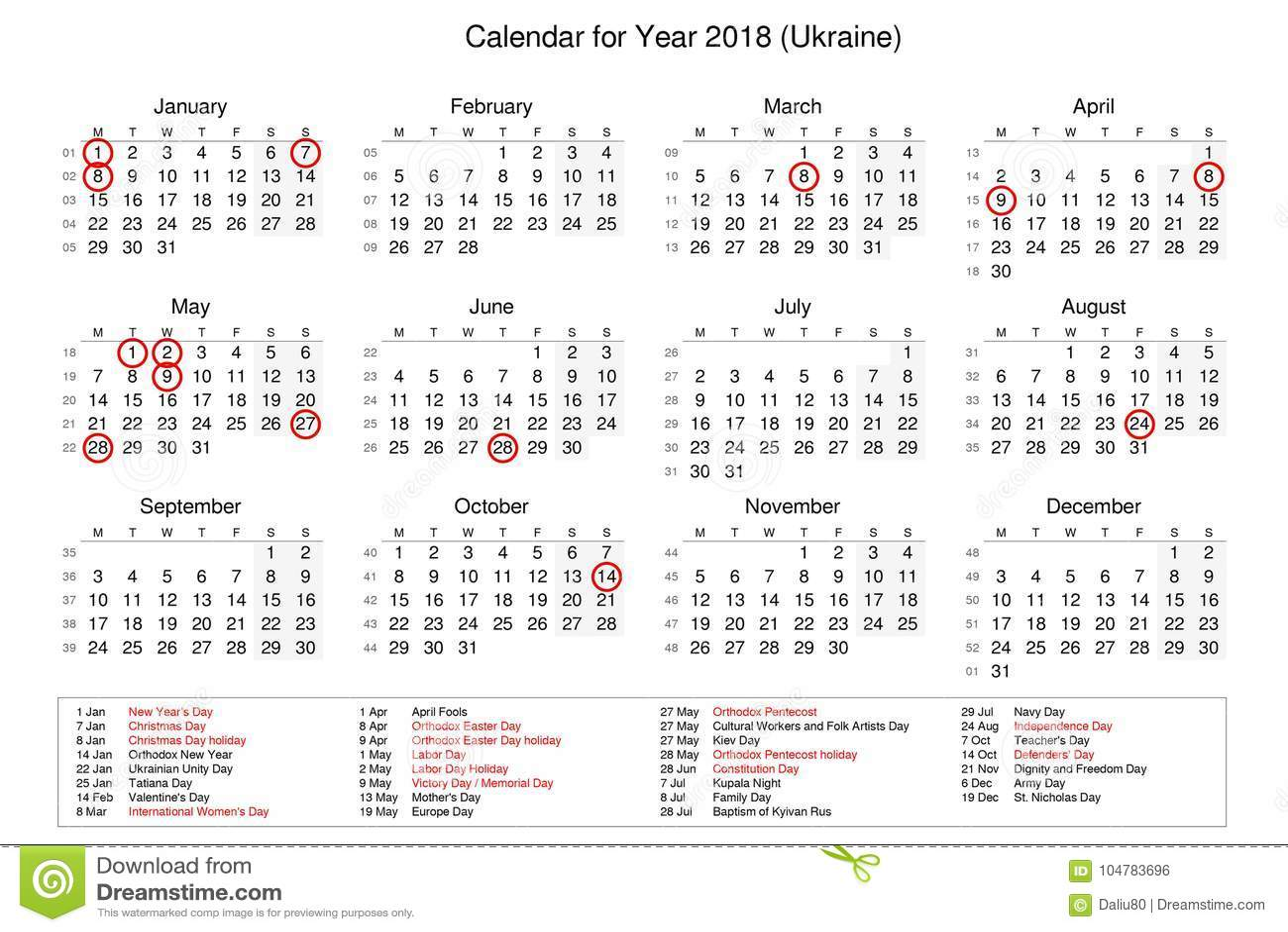 Calendario Nazionali.Calendario Dell Anno 2018 Con Le Feste Nazionali E Le Feste