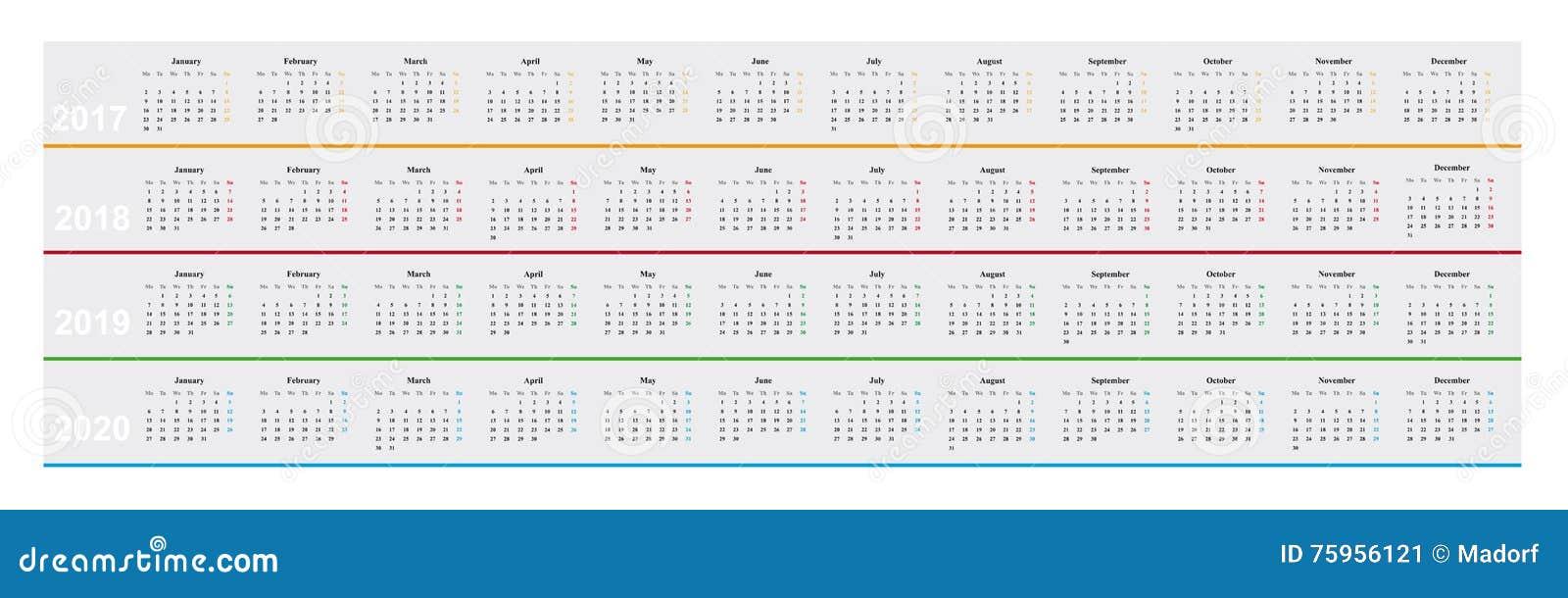 Calendario Anno 2017.Calendario Dell Anno 2017 2018 2019 2020 Progettazione