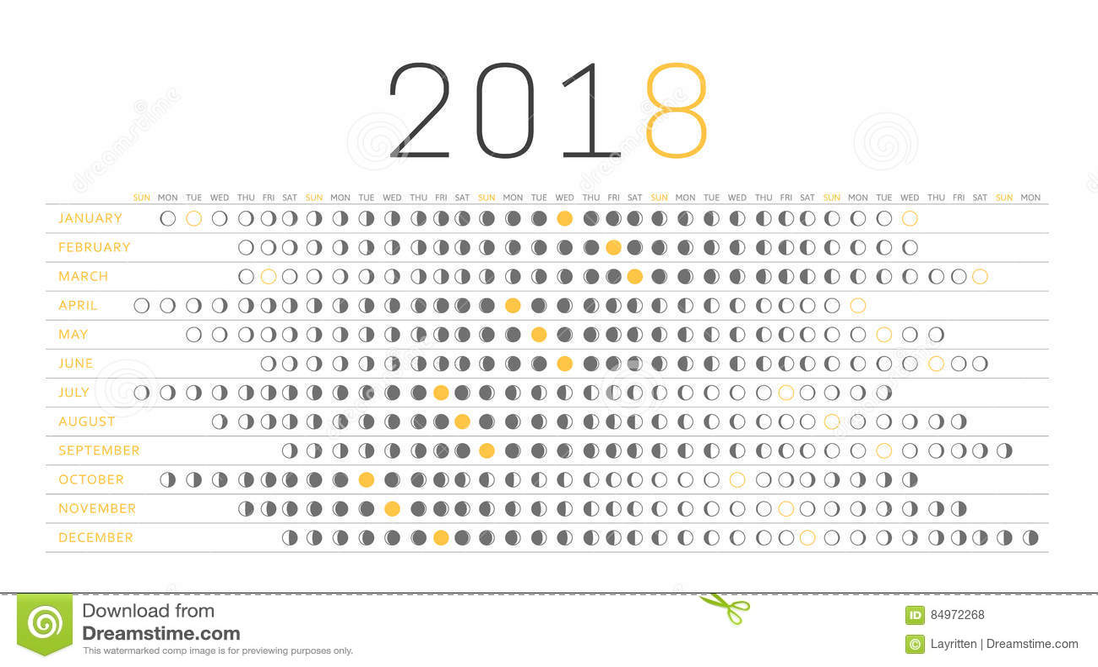 Calendario 2018 della luna illustrazione vettoriale ...