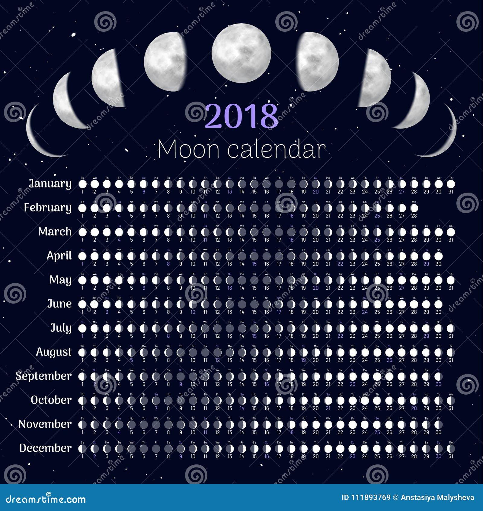 Il Calendario Della Luna.Calendario Della Luna 2018 Anni Illustrazione Vettoriale