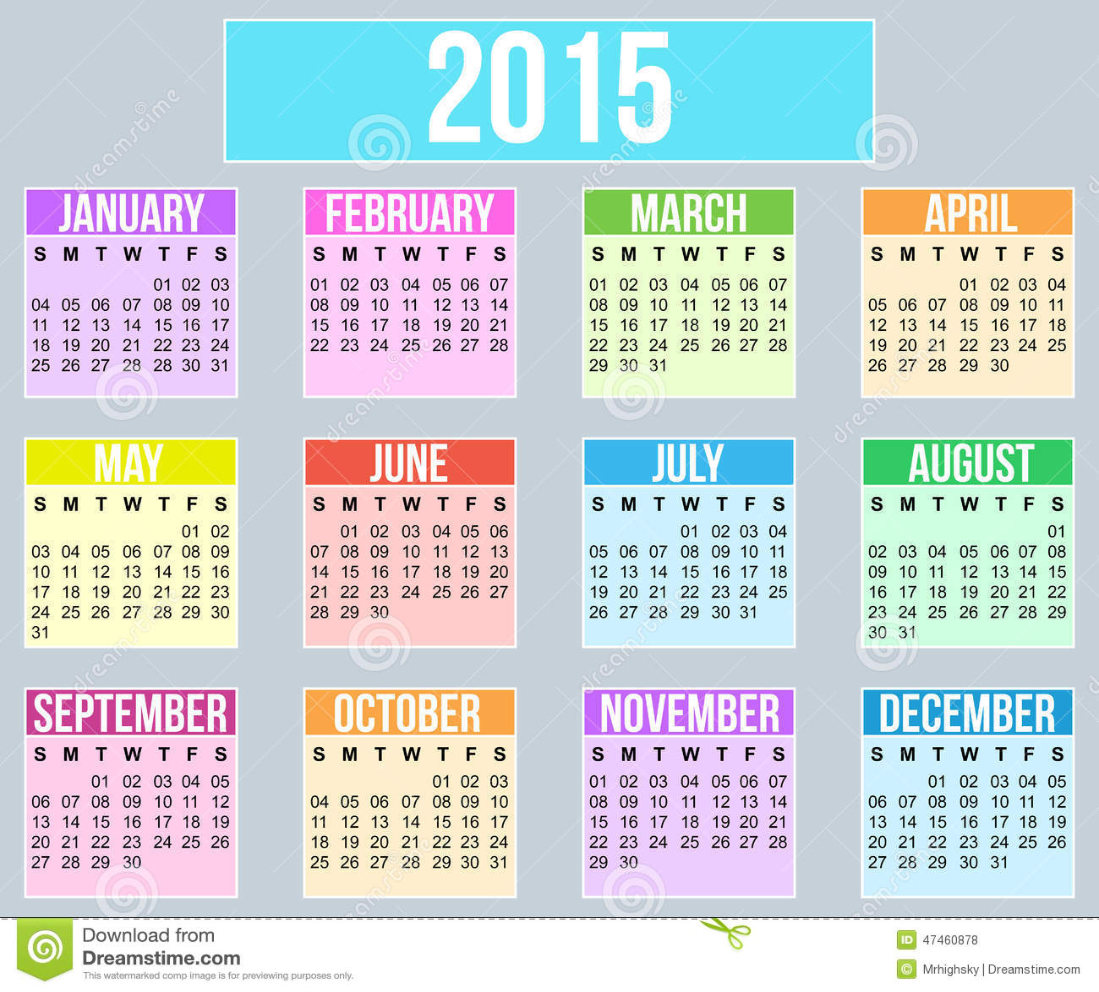 Calendario Anno 2015.Calendario Di Anno 2015 Illustrazione Vettoriale