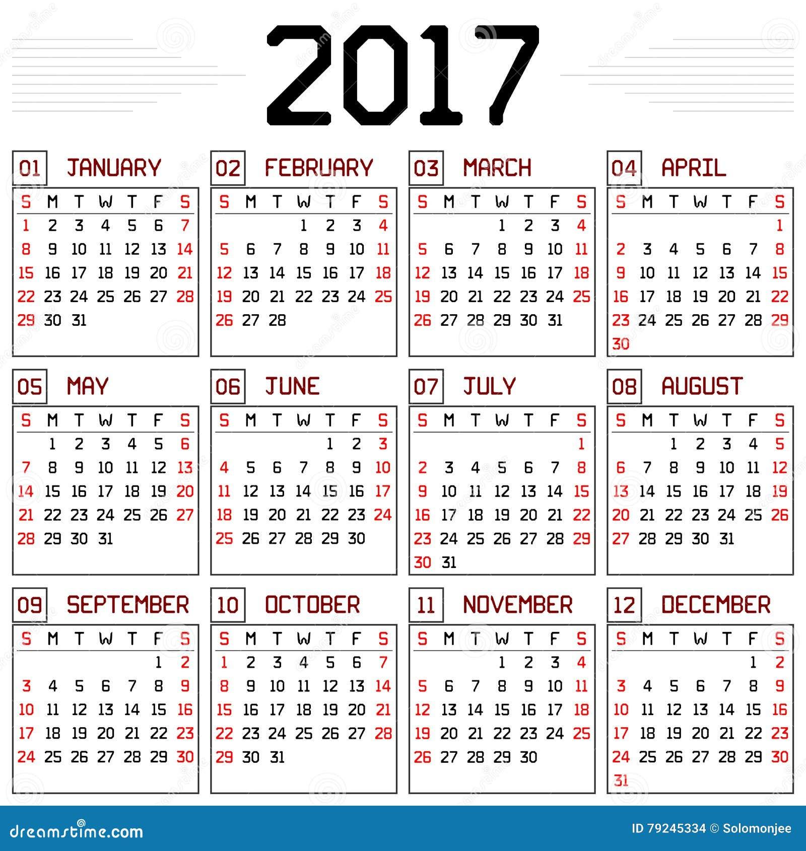 Calendario Anno 2017.Calendario Di Anno 2017 Illustrazione Vettoriale