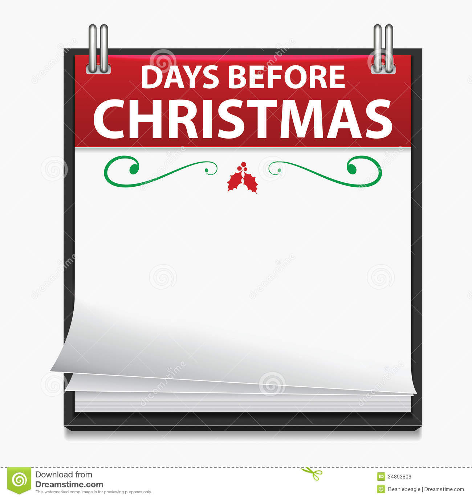 Countdown Natale.Calendario Di Conto Alla Rovescia Di Natale Illustrazione