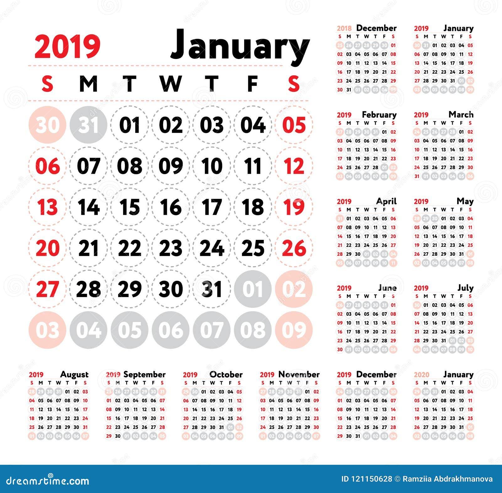 Marzo Calendario.Calendario 2019 Calendario Di Inglese Di Vettore Gennaio Febbraio