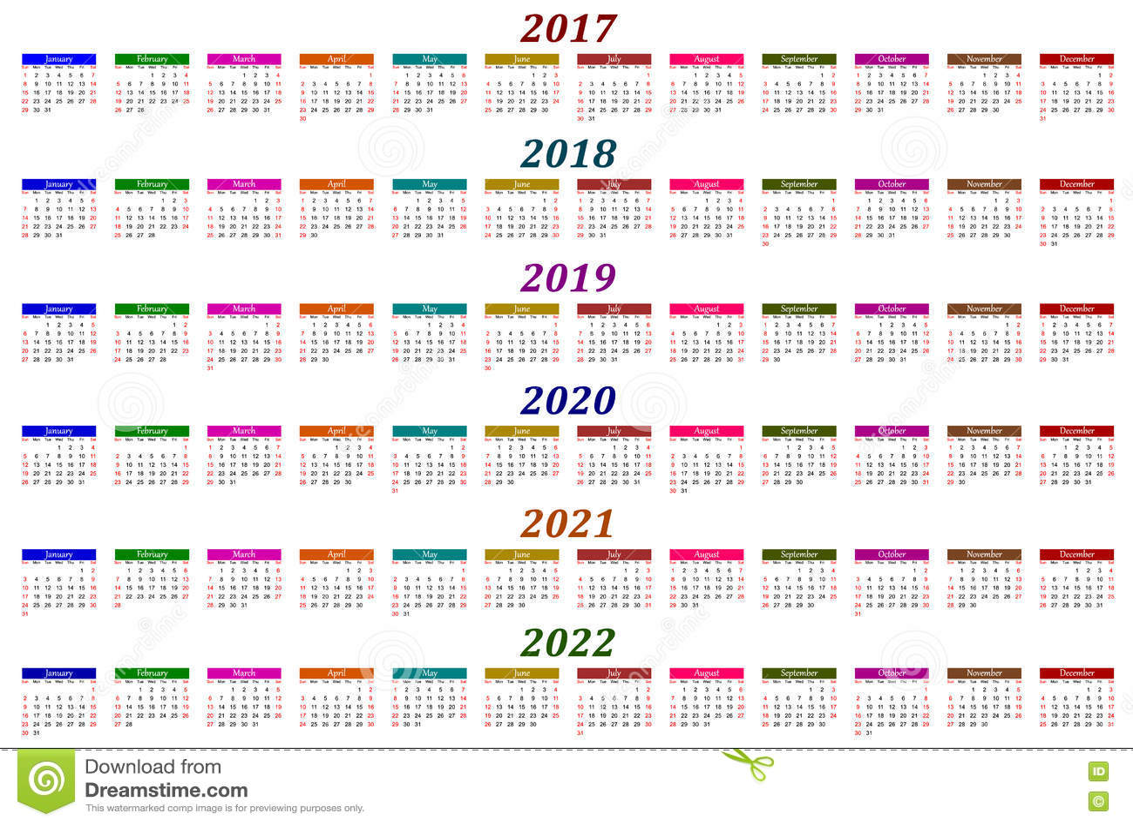 Calendario Editabile 2020.Calendario Di Sei Anni 2017 2018 2019 2020 2021 E 2022