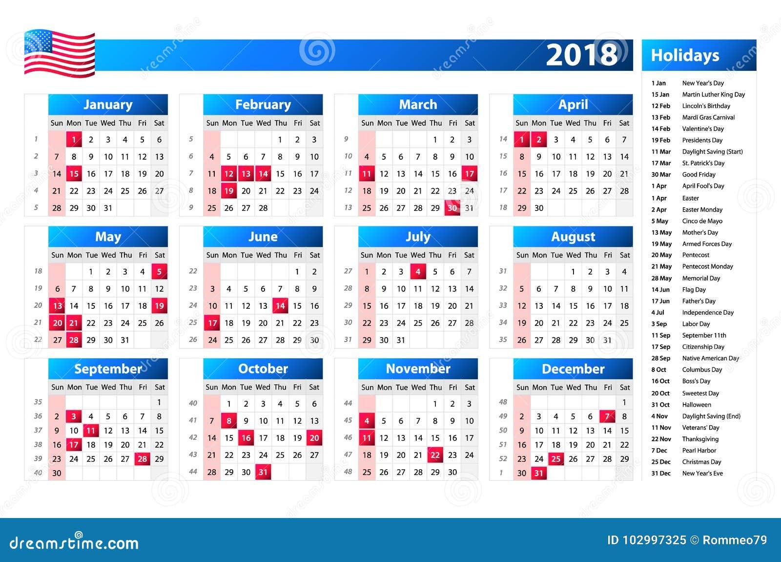 Calendario Feste.Calendario 2018 Di U S A Le Feste Ufficiali Ed I Giorni