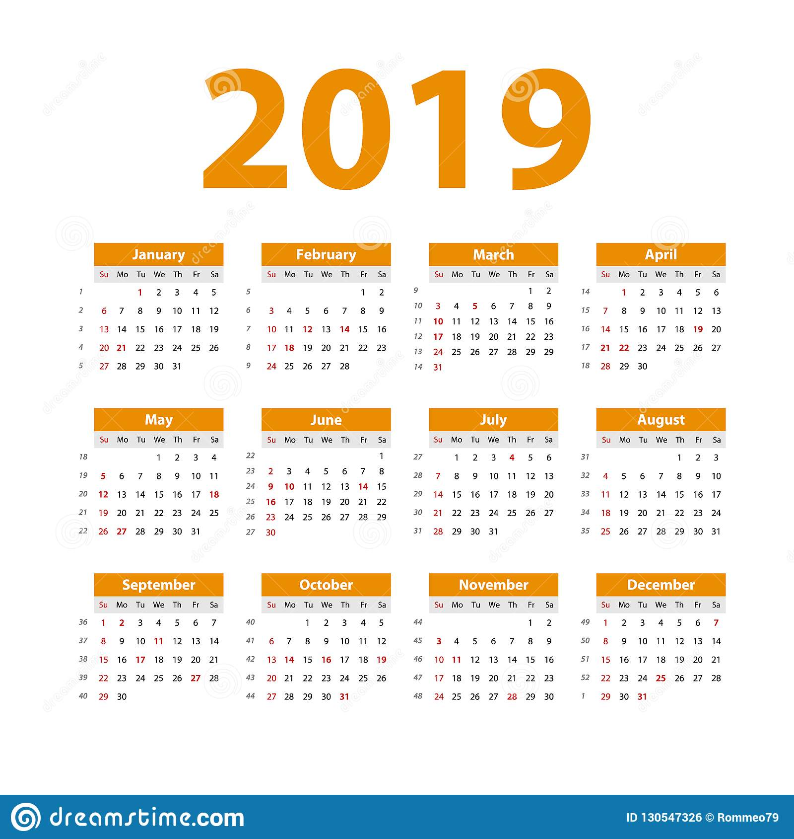 Calendario Settimane Anno 2019.Calendario 2019 Di Vettore Arancio Inizio Di Settimana La