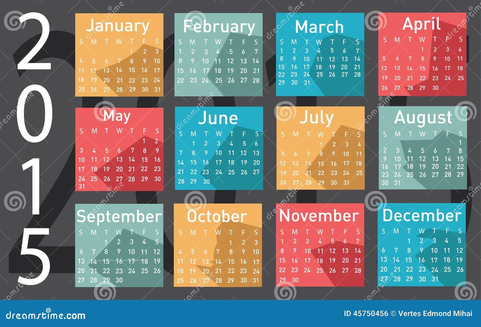 Calendario di vettore di 2015 anni