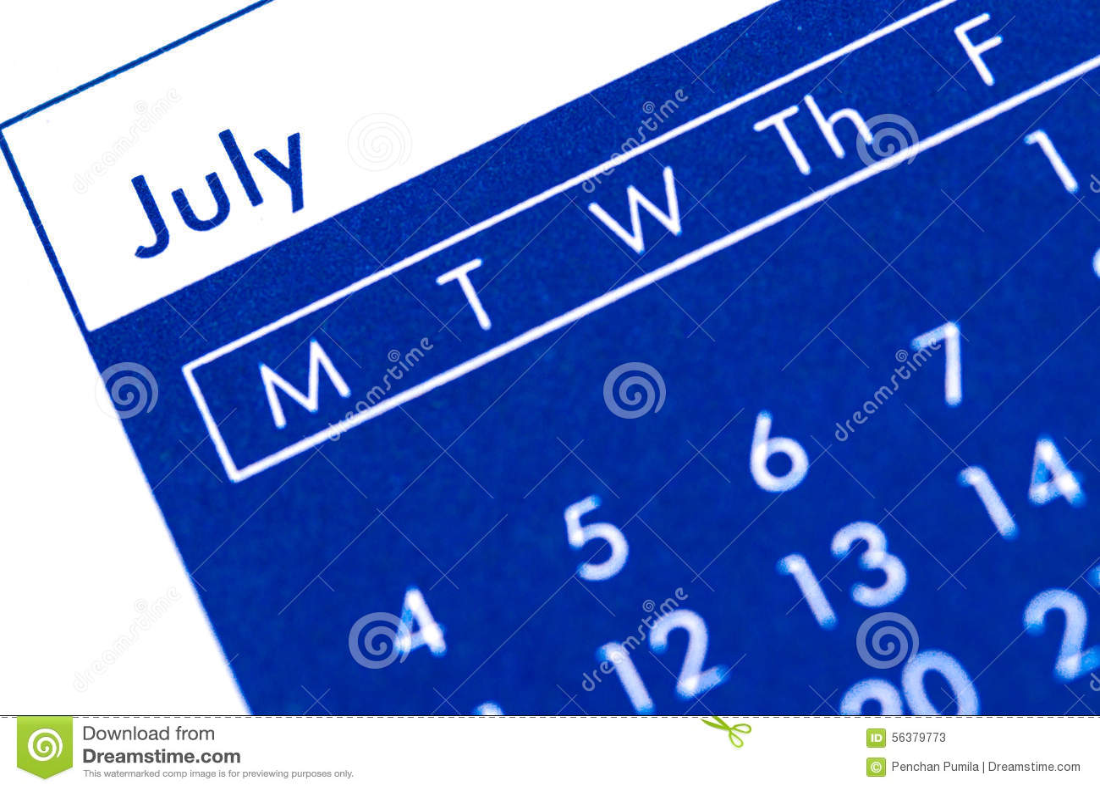 Visualizza Calendario.Calendario Diretto A Spirale Che Visualizza Mese Di Luglio
