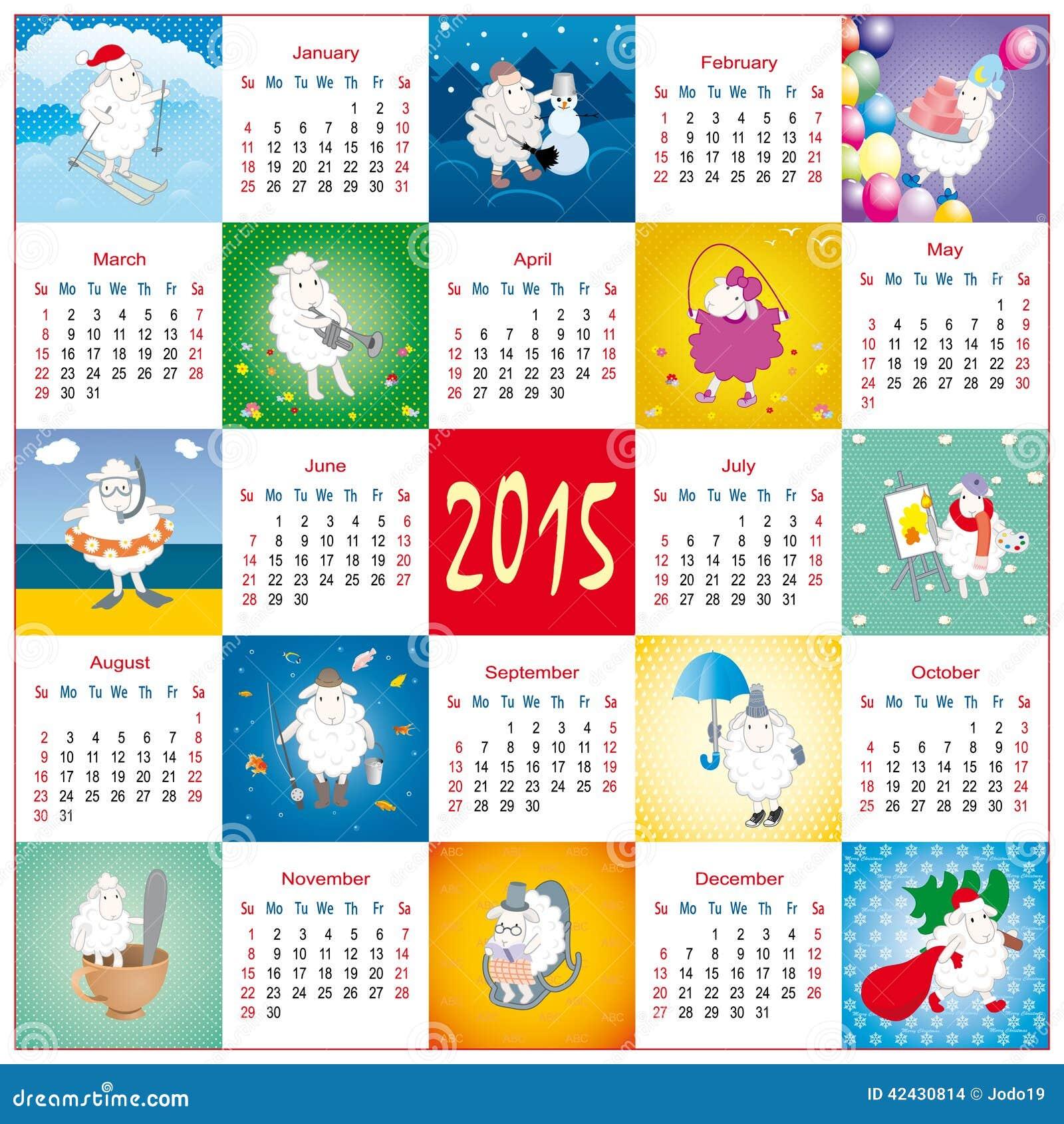 Calendario divertido de la historieta con las ovejas