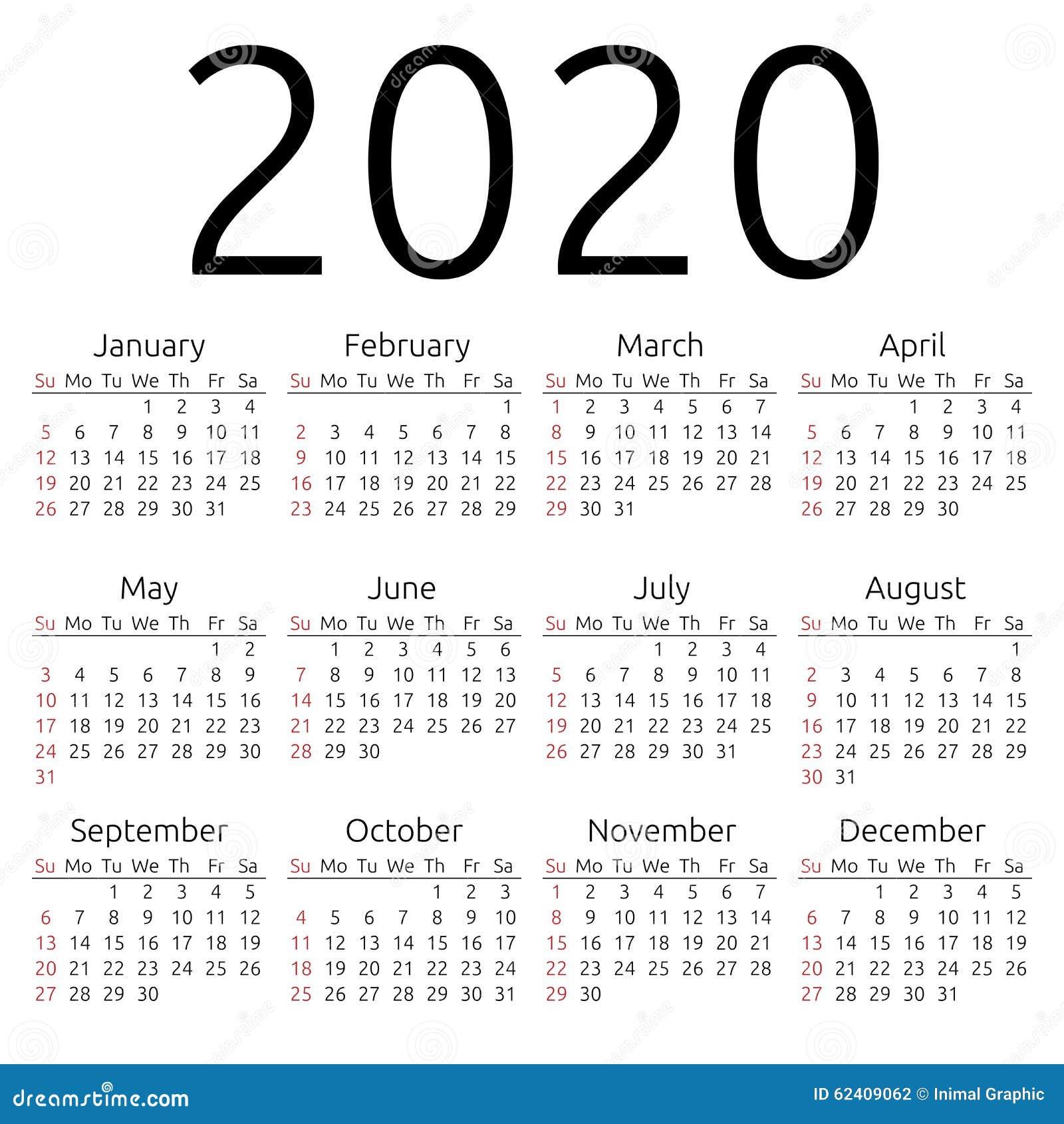 Calendario 2020 Con Numero Settimane.Calendario 2020 Domenica Di Vettore Illustrazione