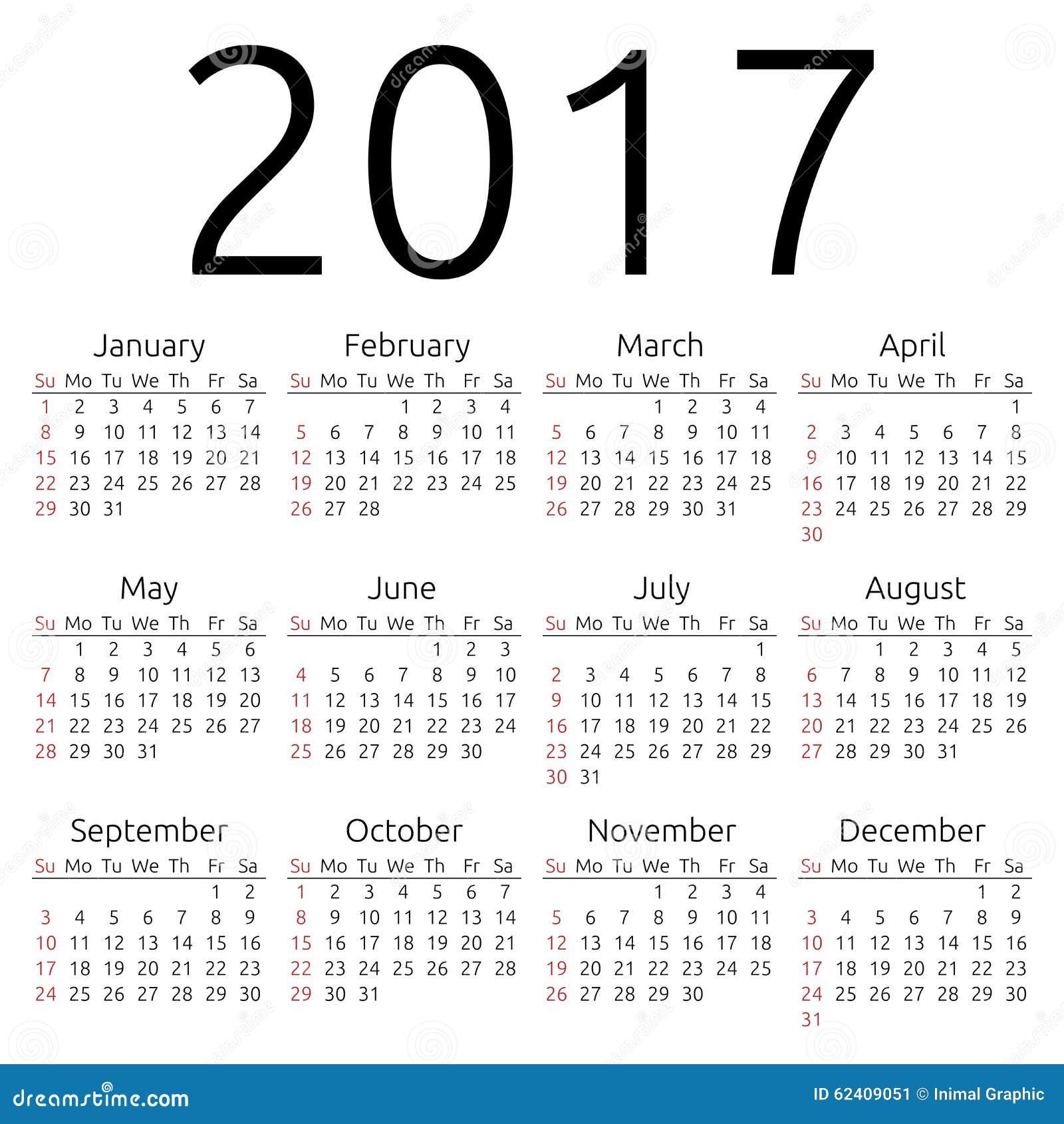 El calendario simple de 2017 años, semana comienza el domingo, vector ...
