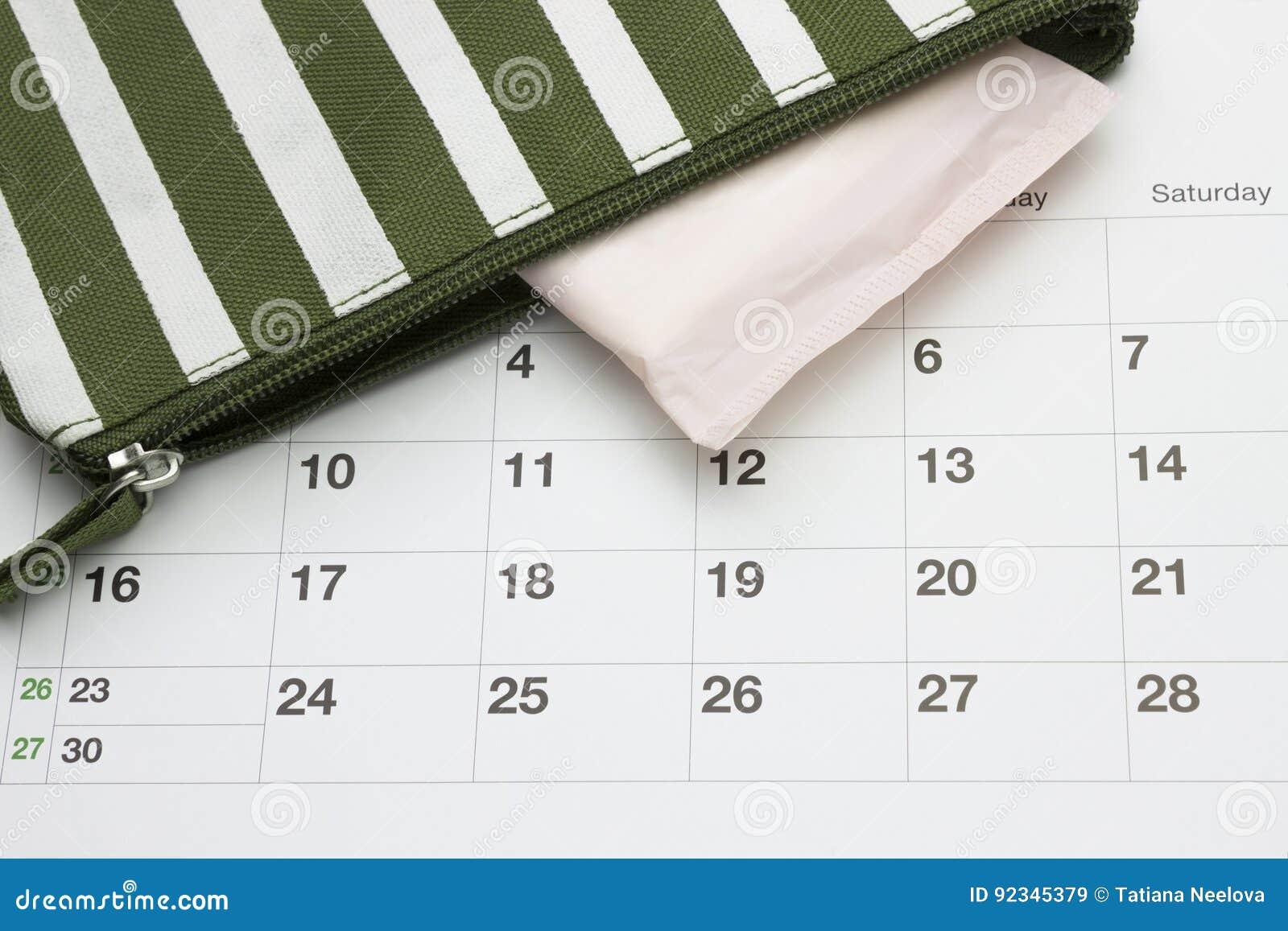 Calendario Delle Mestruazioni.Calendario E Cuscinetto Di Cotone Molle Sanitario Di