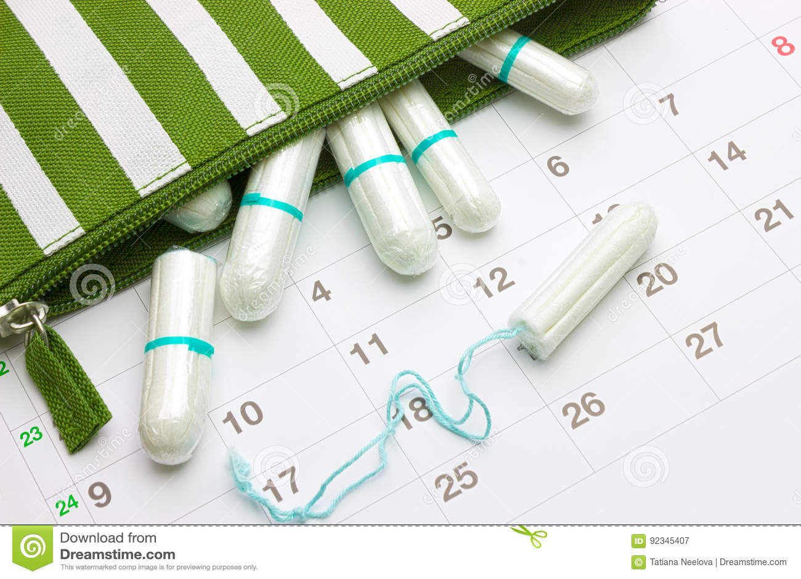 Calendario Del Ciclo Mestruale.Calendario E Tamponi Molli Sanitari Del Cotone Di