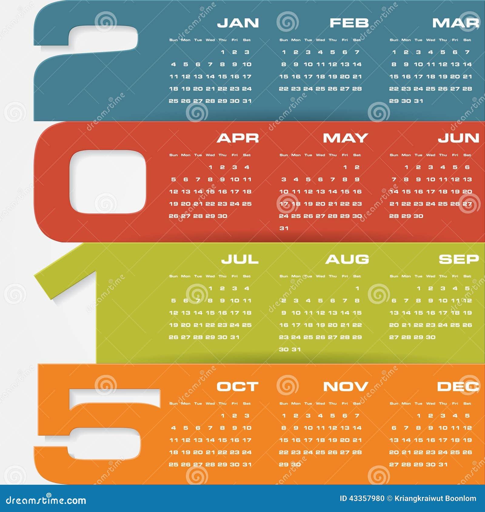Calendario Editable Simple 2015 Del Vector Ilustración del Vector ...