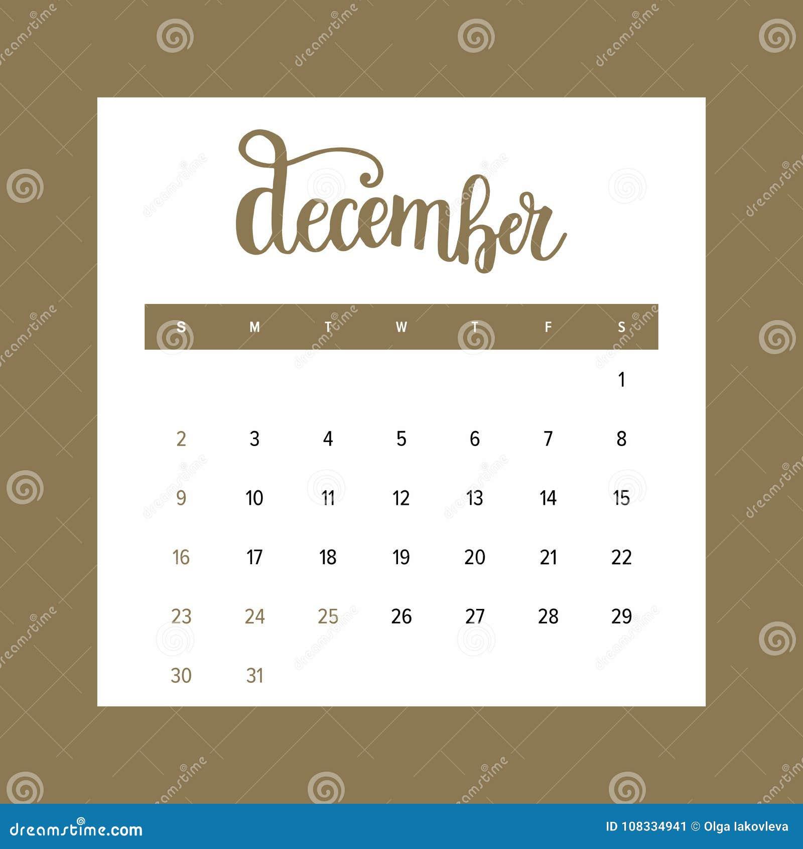 Calendario El 2018 De Diciembre Un Mes De La Plantilla Elegante Del ...