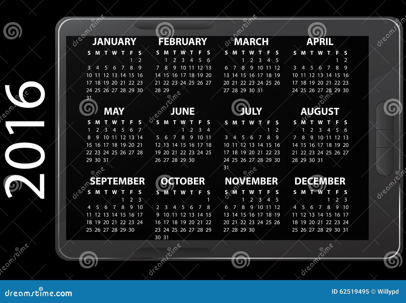 Calendario Elettronico.Calendario Elettronico 2016 Illustrazione Di Stock