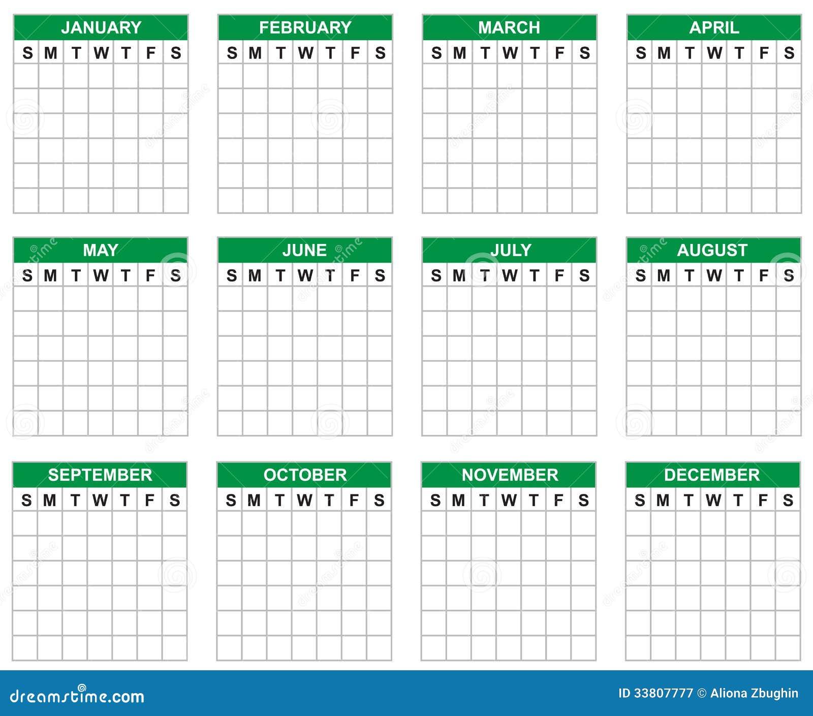 Calendario en blanco