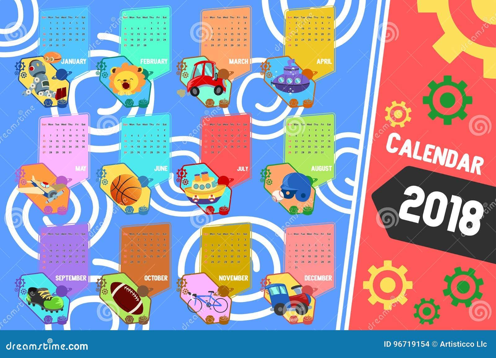 Calendario 2018 en estilo de la historieta