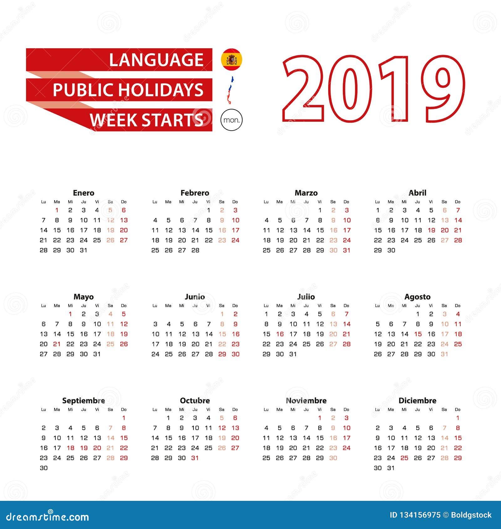 Calendario Con Semanas 2019 Chile.Calendario 2019 En Lengua Espanola Con Dias Festivos El Pais