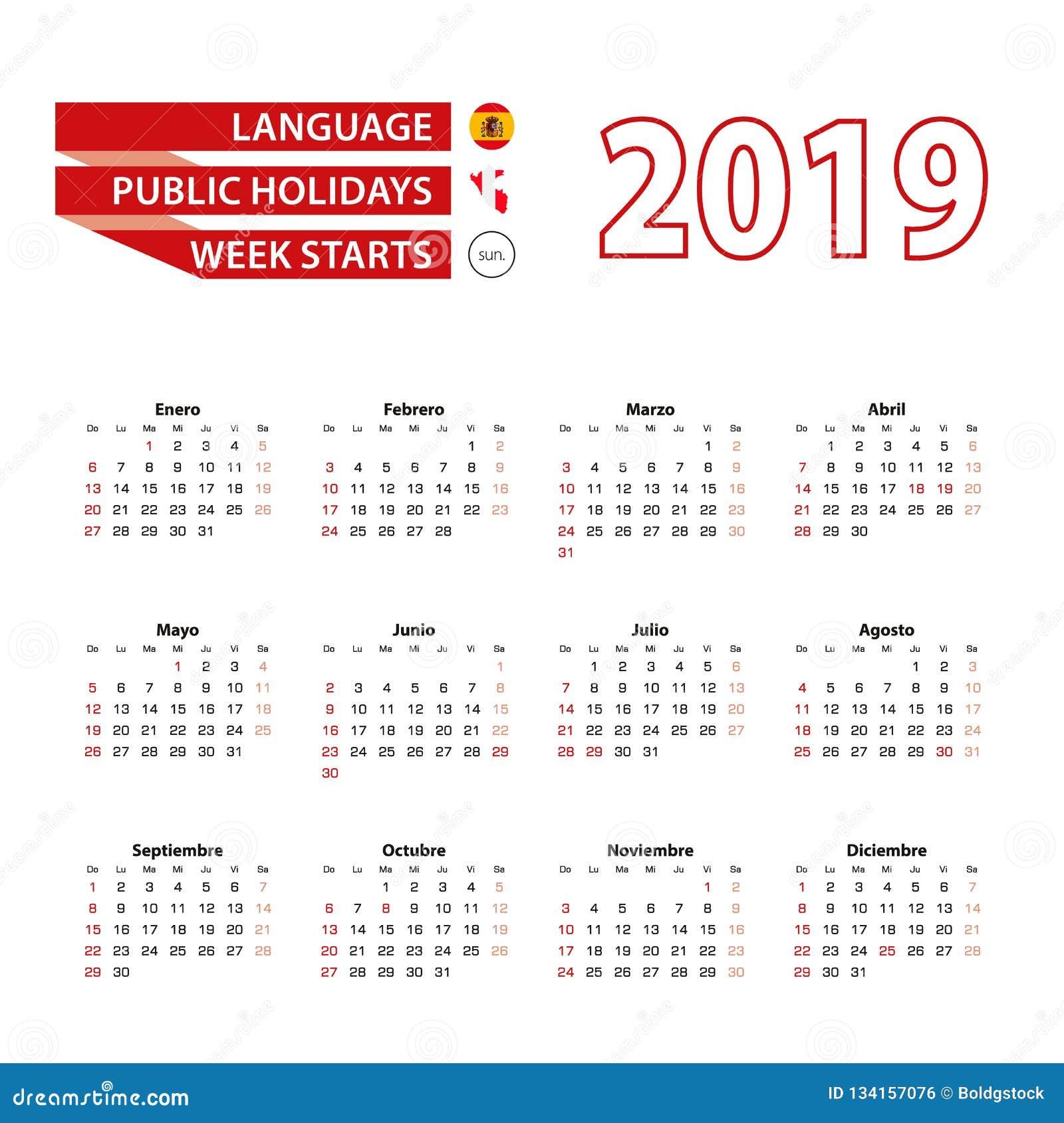Calendario 2019 Agosto A Diciembre.Calendario 2019 En Lengua Espanola Con Dias Festivos El Pais