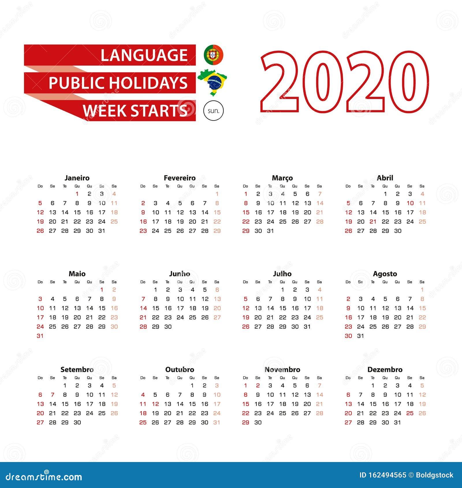 Calendario 2020 En Portugués Con Días Festivos En Brasil En El Año 2020 Ilustración Del Vector Ilustración De Brasil Elemento 162494565