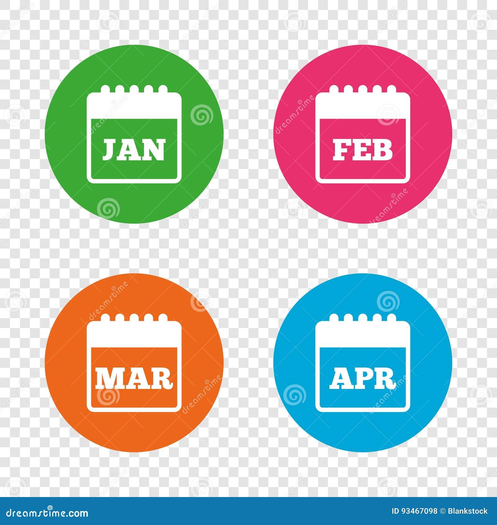 Calendario Enero Febrero Marzo Y Abril Ilustración Del Vector