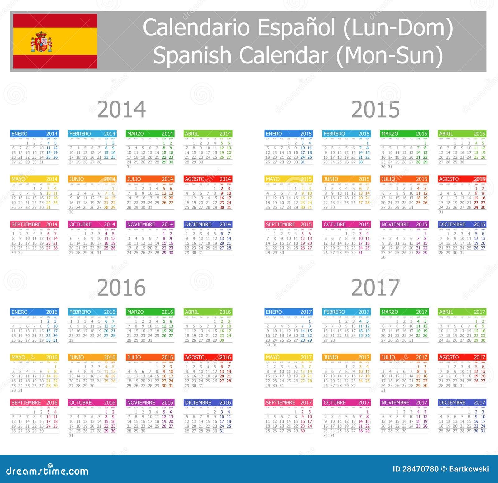 Calendario Español 2014-2017 Del Tipo 1 Lunes-Sun Foto de archivo ...