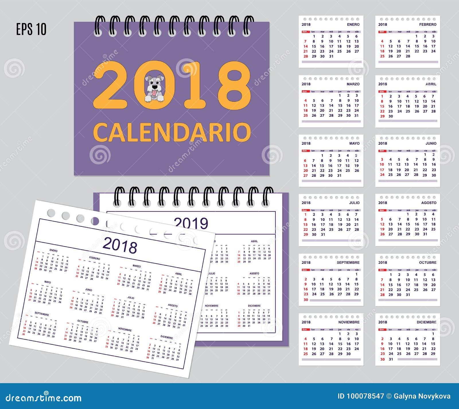 Calendario español de los niños por el año 2018, 2019 de la pared o del escritorio