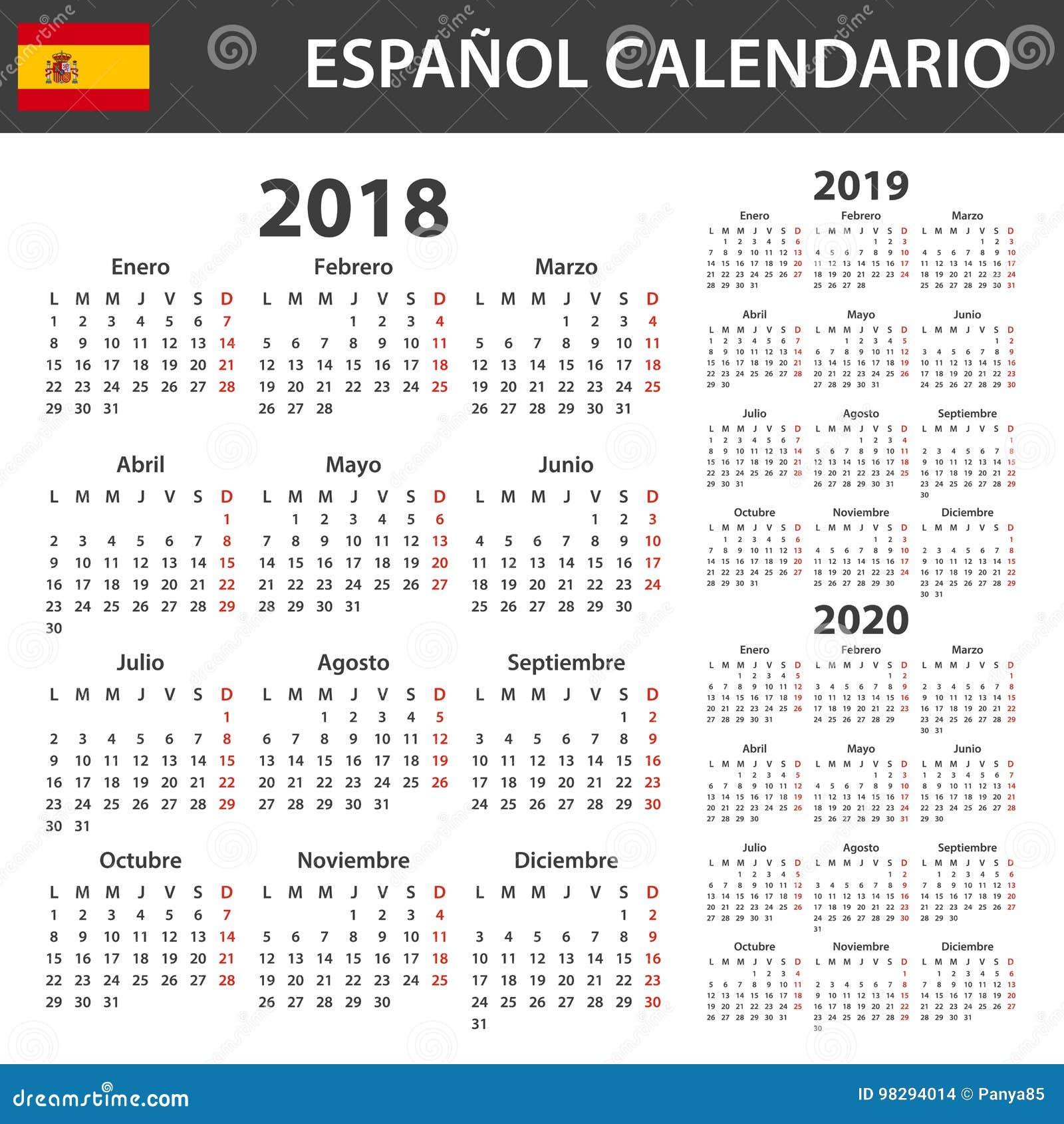 Calendario Español Para 2018, 2019 Y 2020 Planificador, Orden Del ...