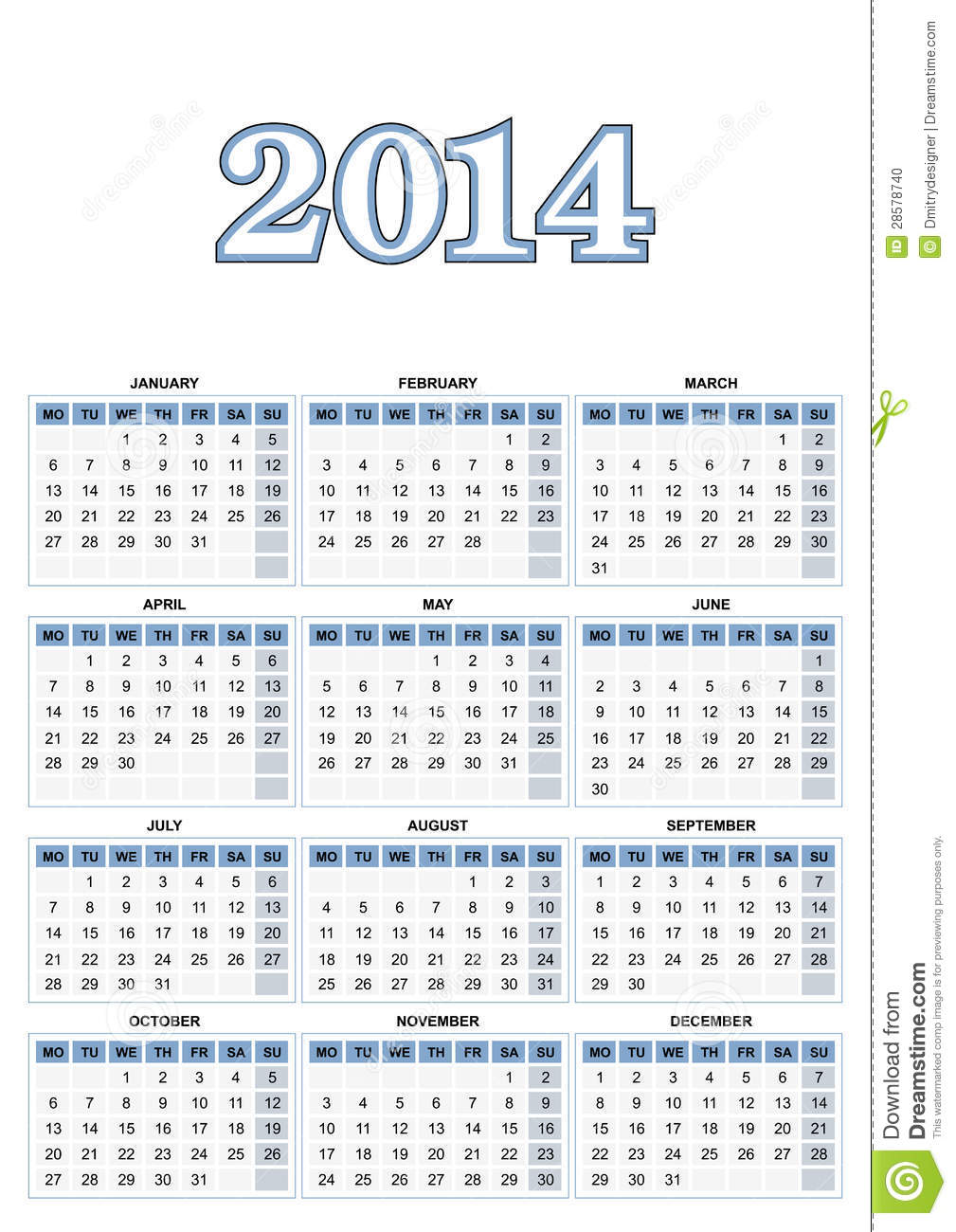 Foto de archivo: Calendario europeo 2014 en vector