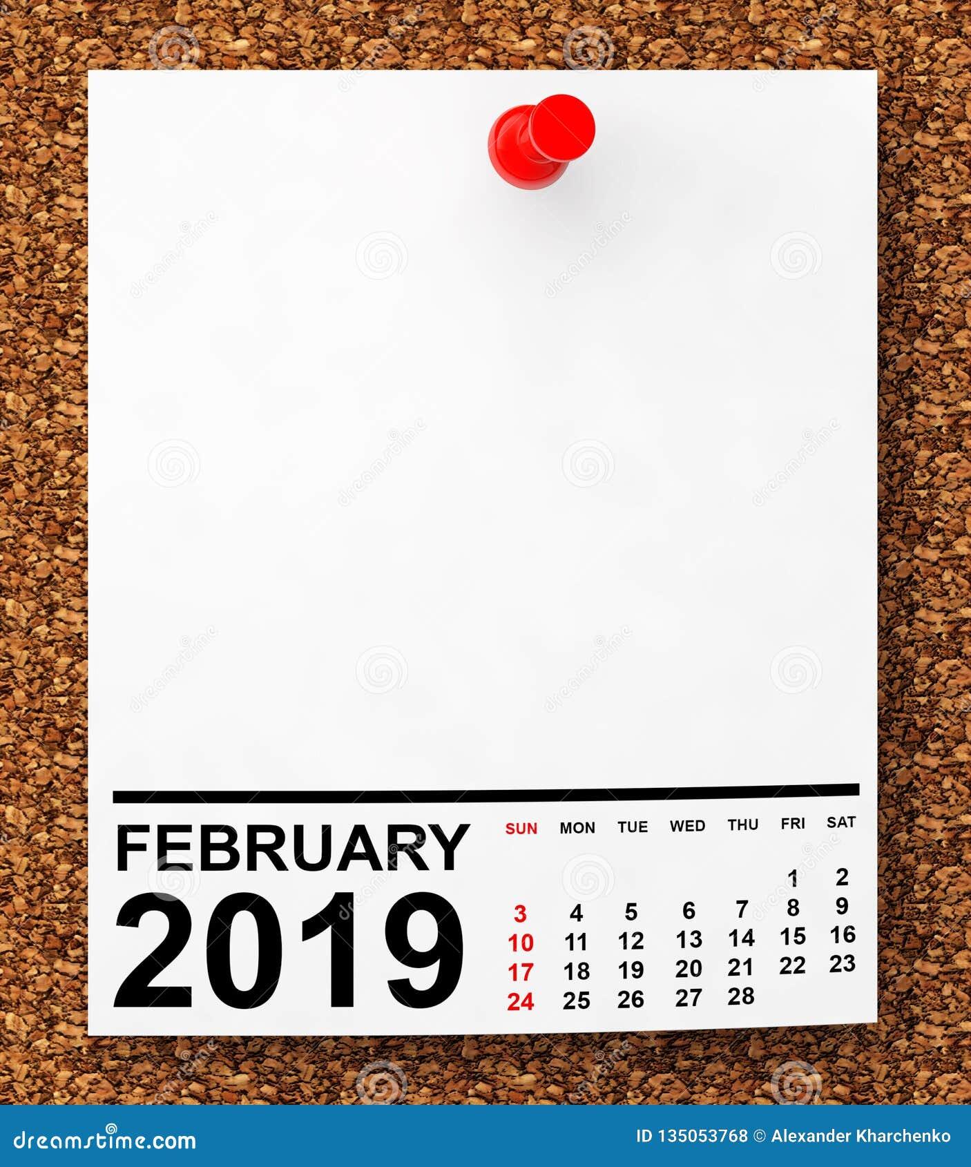 Calendario Appunti 2019.Calendario Febbraio 2019 Rappresentazione 3d Fotografia
