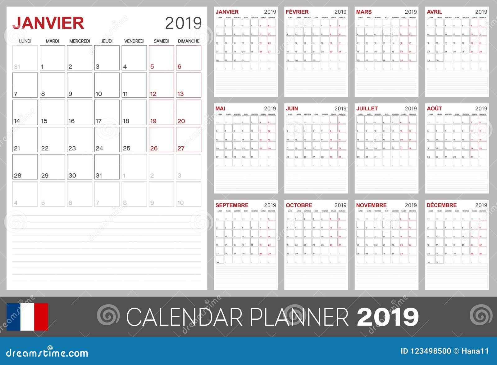 Calendario Frances.Calendario Frances 2019 Ilustracion Del Vector Ilustracion