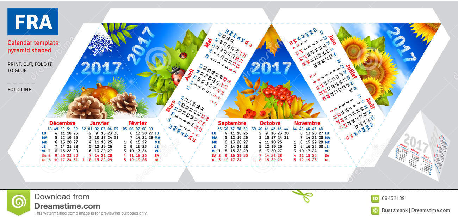 Calendario Francés 2017 De La Plantilla Por La Pirámide De Las ...