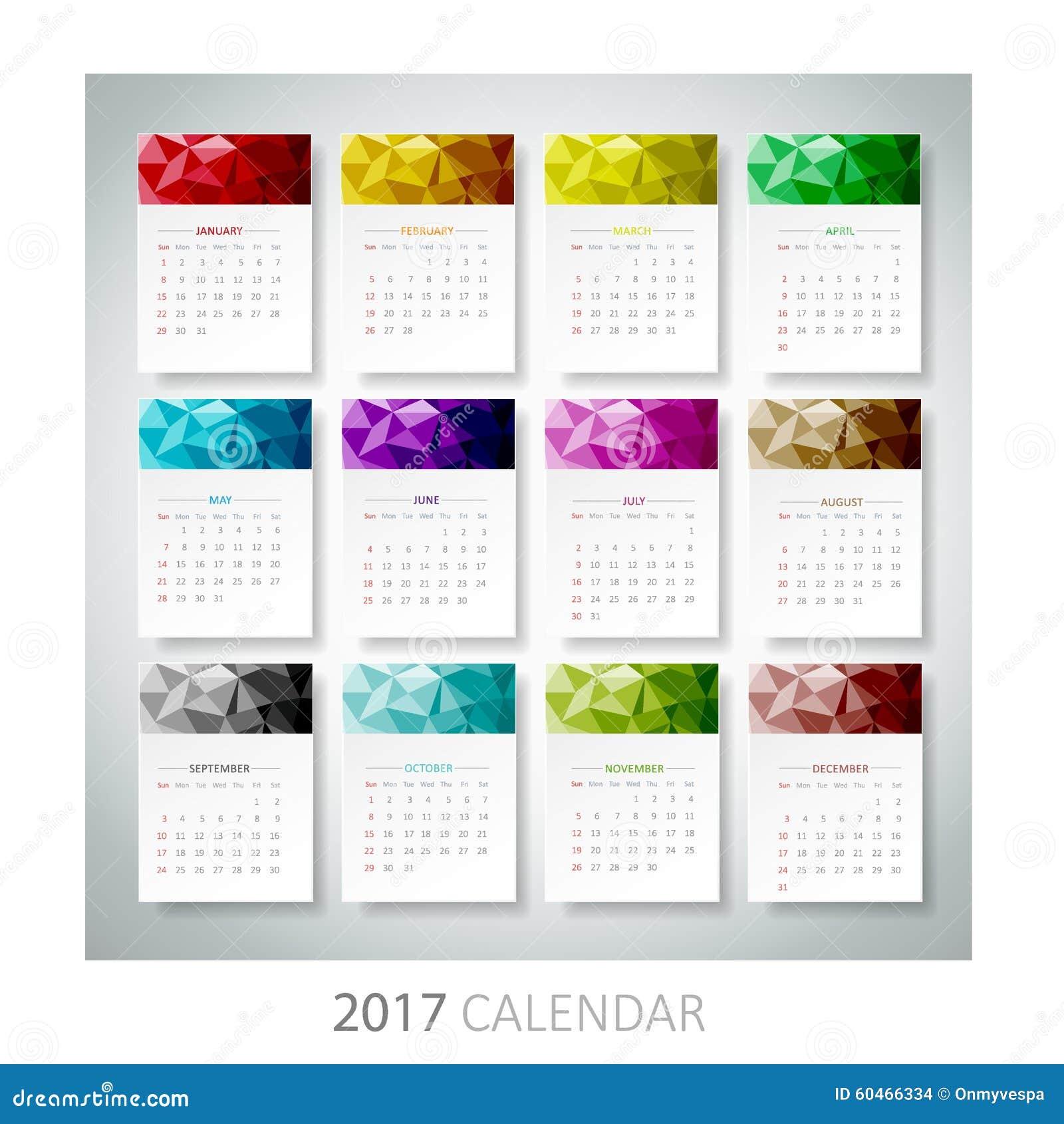100 Most Creative Gardening Design Ideas 2018: Calendario Geométrico Del Diseño De 2017 Ilustración Del