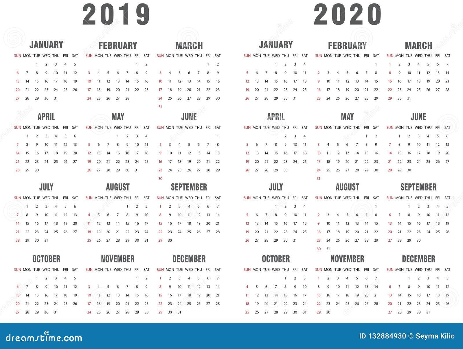2019-2020 calendario grigio e bianco