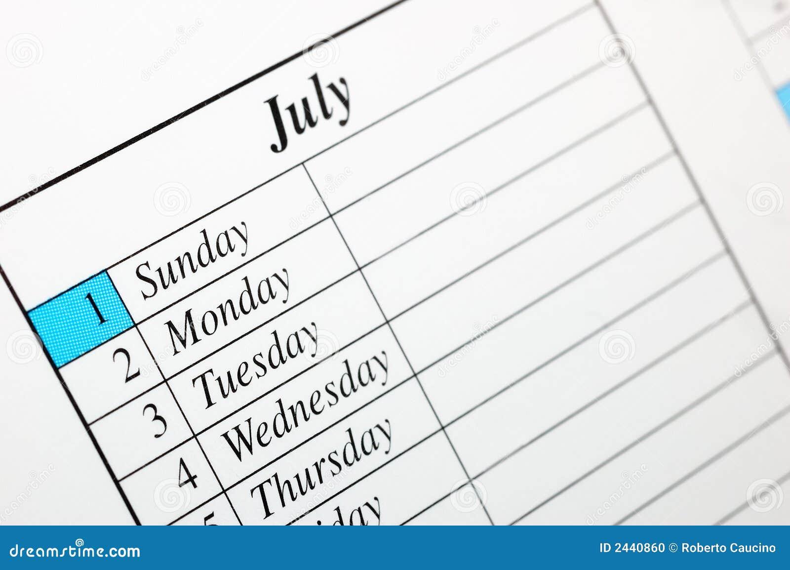 Calendario Luglio 2007.Calendario Il Luglio 2007 Fotografia Stock Immagine Di