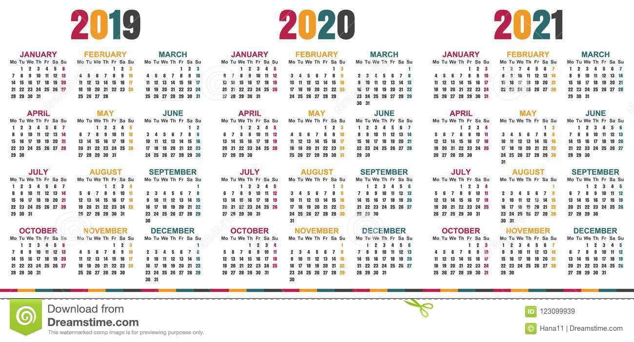 Calendario Inglese 2019 2021 Illustrazione di Stock
