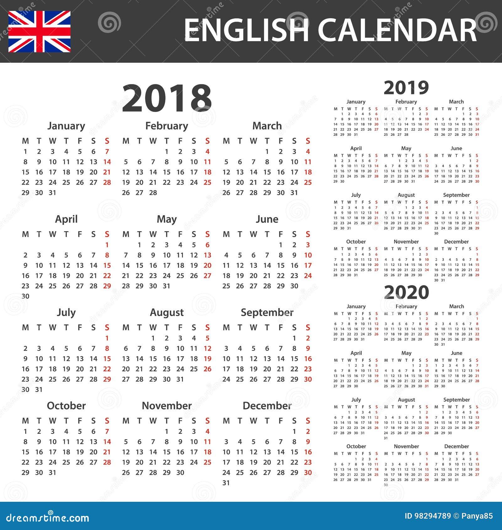 Feste Calendario 2020.Calendario Inglese Per 2018 2019 E 2020 Tabella Degli Orari