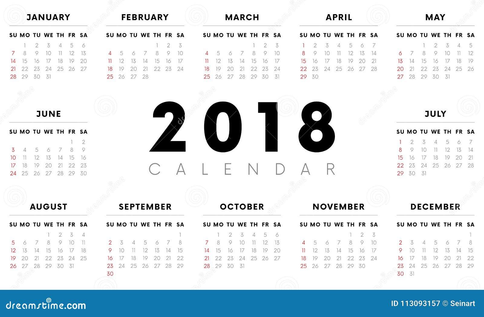 Settimane Calendario.Calendario 2018 Inizio Di Settimane Con Domenica