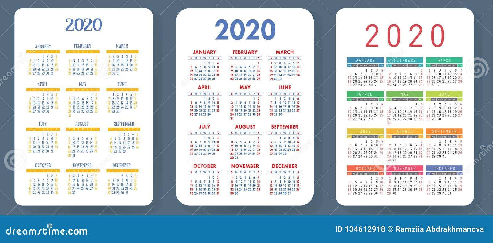 Settimane Calendario 2020.Calendario 2020 Insieme Variopinto Di Vettore Raccolta Del