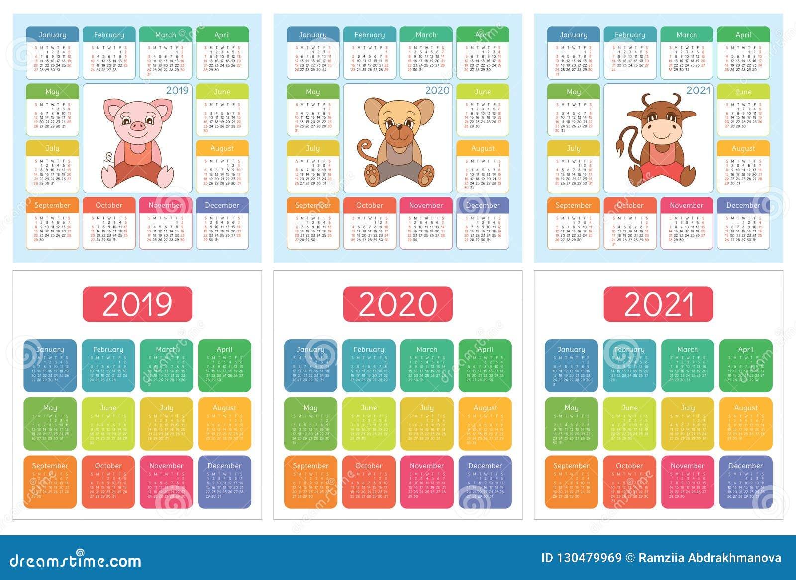 Calendario Cinese 2020.Calendario 2019 2020 2021 Insieme Variopinto Inglese