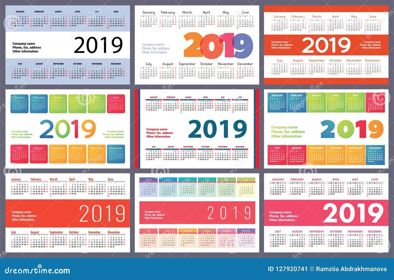 Calendario Numero Settimana 2019.Calendario 2019 Insieme Variopinto Inizio Di Settimana La