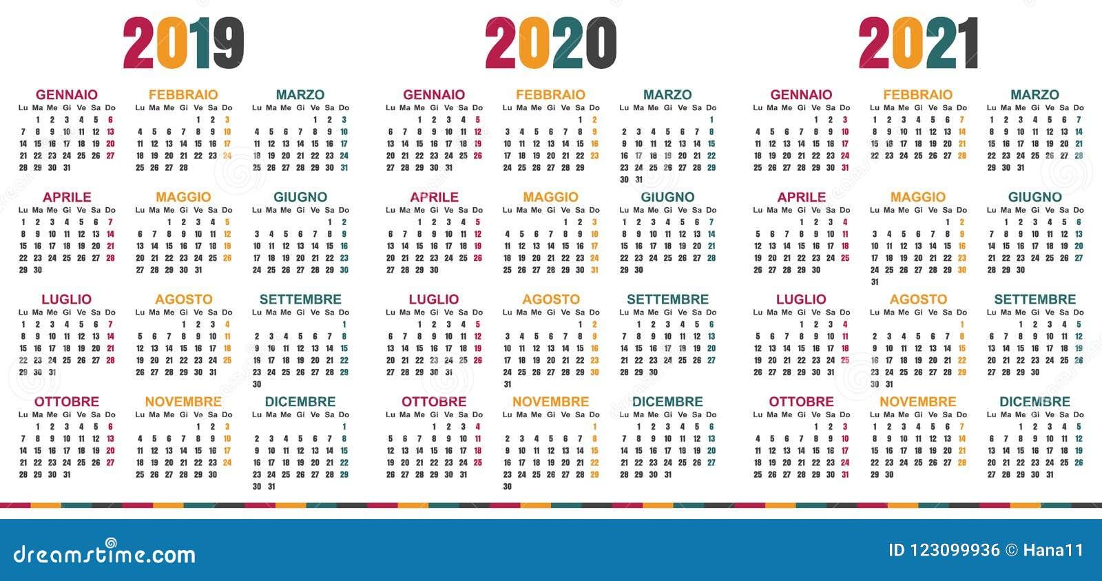 Calendario Italiano 2019 2021 Illustrazione Vettoriale