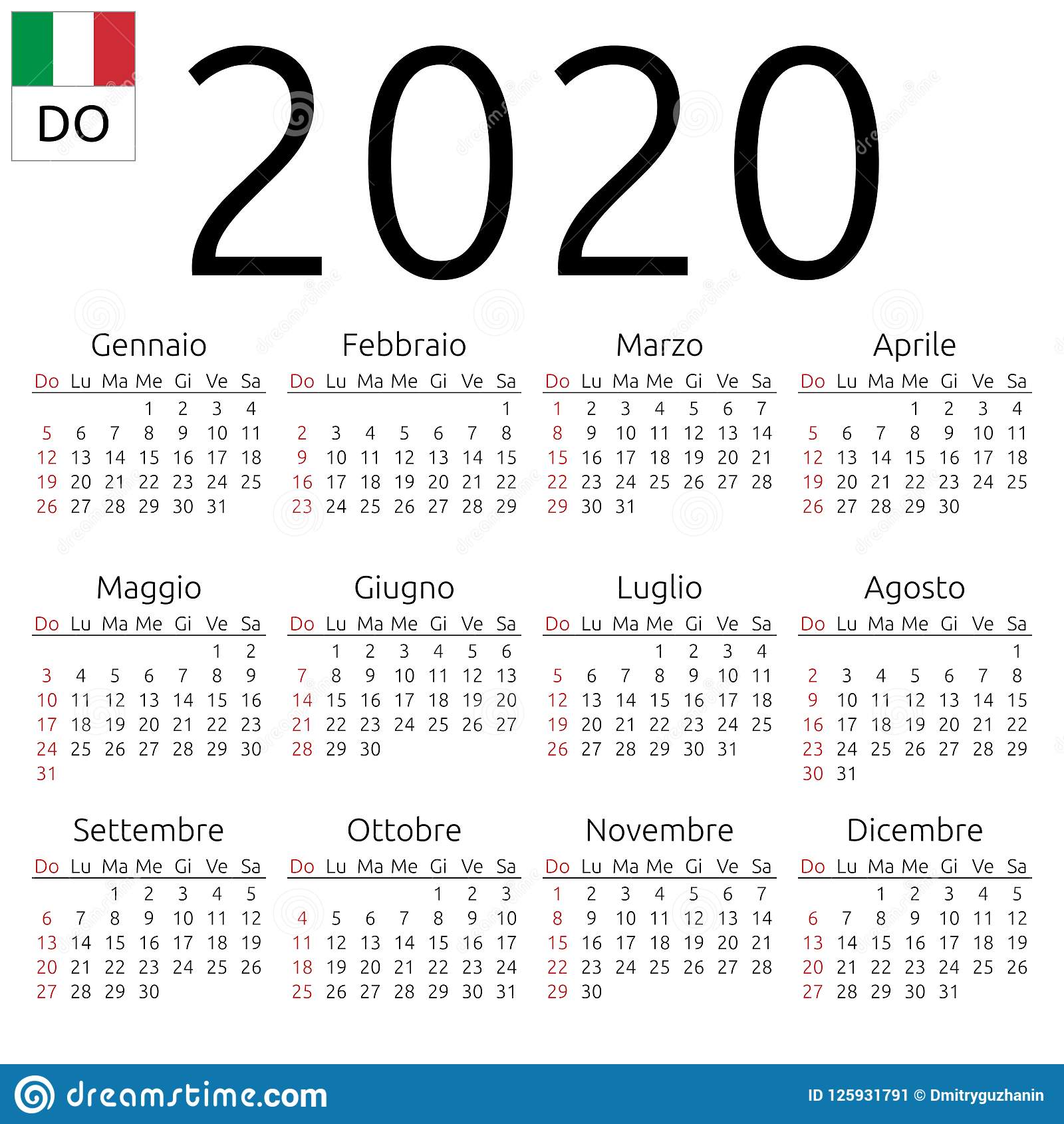 Calendario Italiano 2020 Con Festivita.Calendario 2020 Italiano Domenica Illustrazione Vettoriale