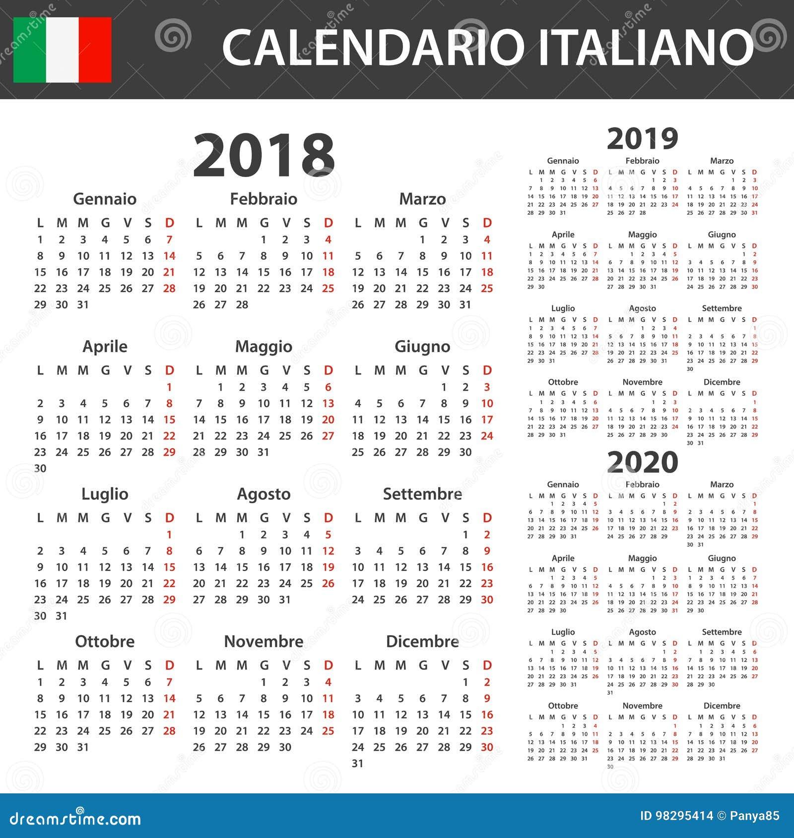 Calendario Con Le Settimane 2020.Calendario Italiano Calendario 2020