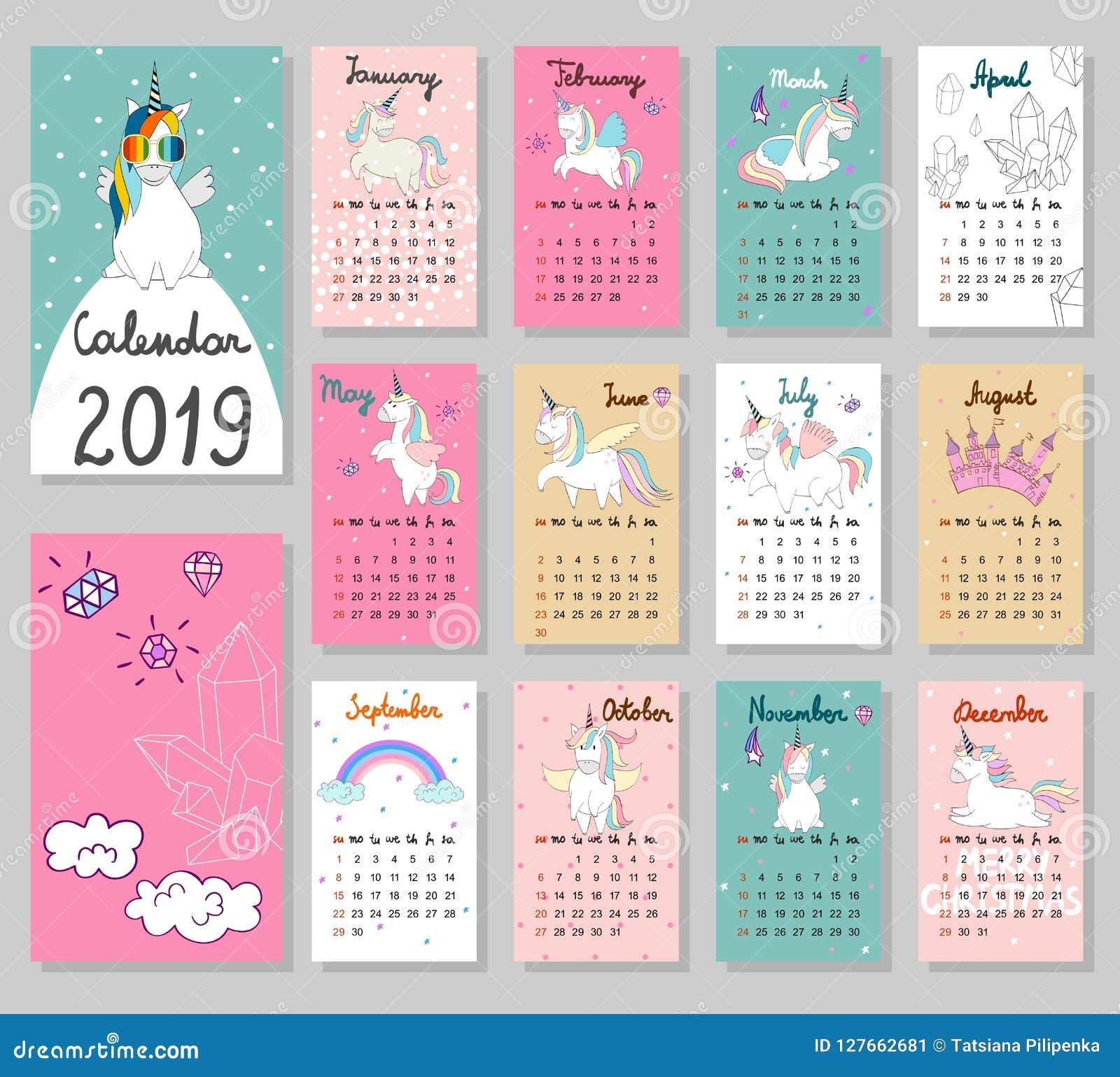Calendario Bosque Magico 2019.Calendario Lindo 2019 Del Vector Ilustracion Del Vector