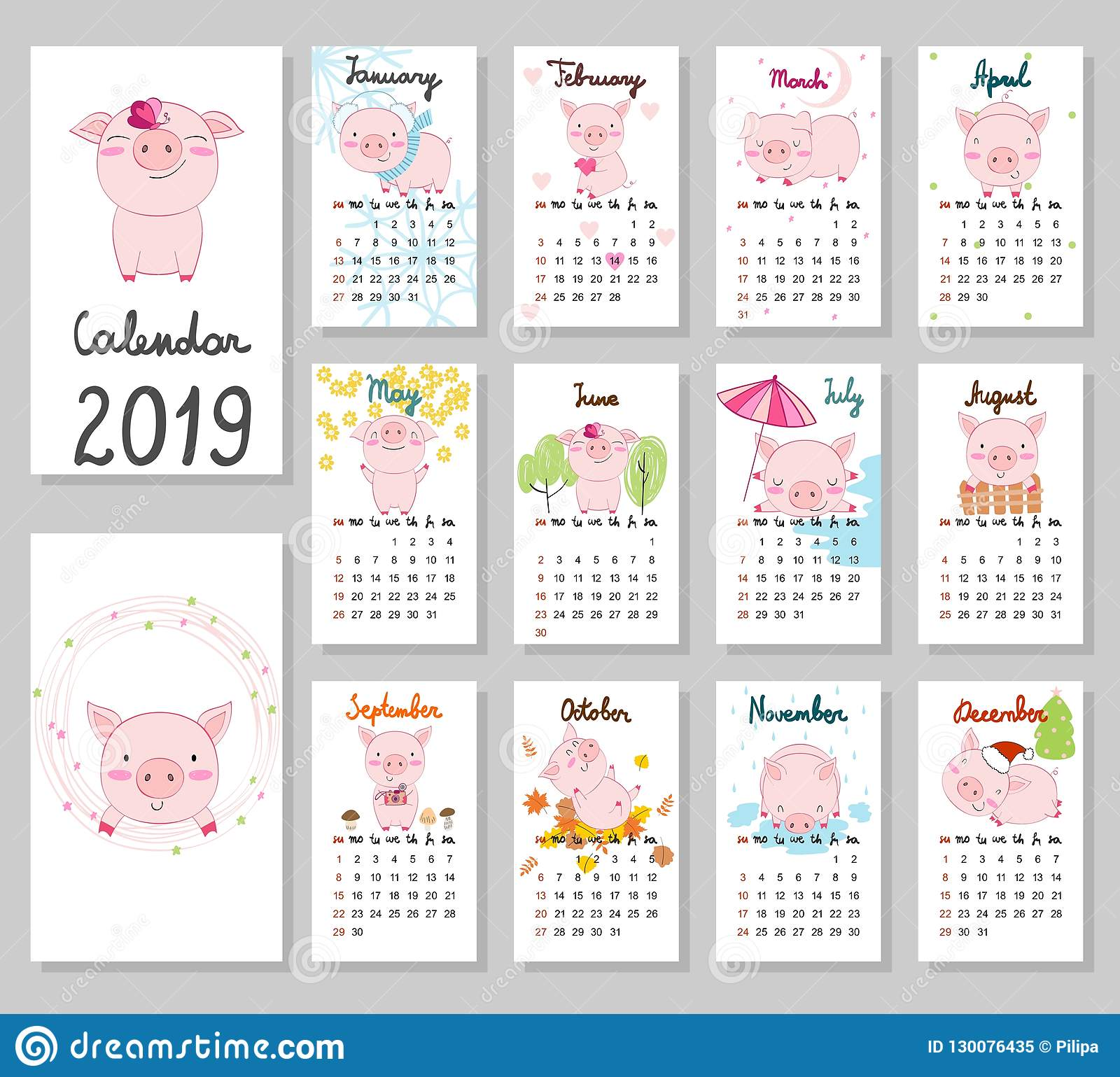 Calendario Dibujo 2019.Calendario Lindo 2019 Del Vector Ilustracion Del Vector