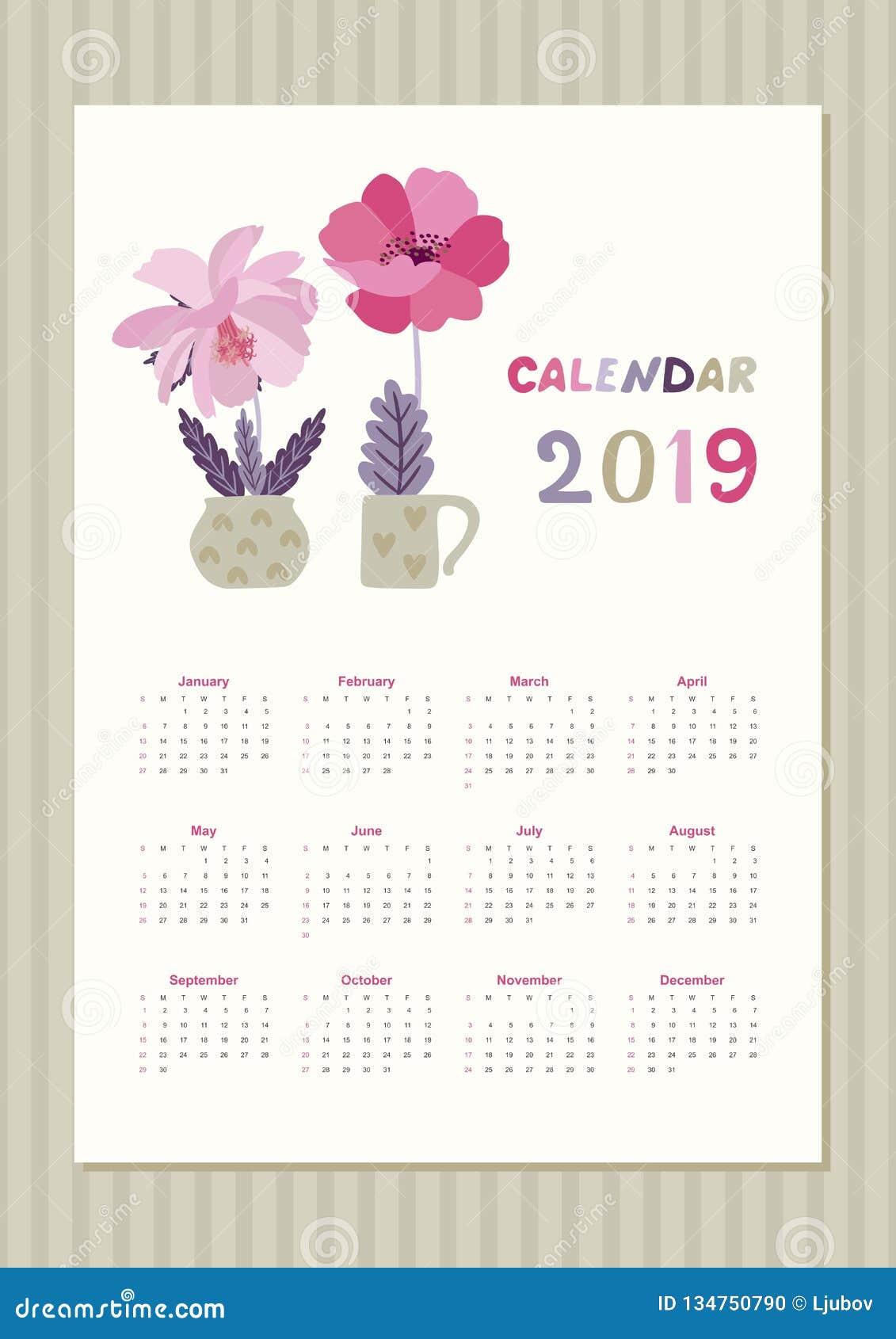 Calendario Bosque Magico 2019.Calendario Lindo Por 2019 Anos Con Las Flores Rosadas